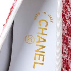 Chanel Red/White Tweed Fabric And Leather CC Cap Toe Bow Ballet Flats Size 41