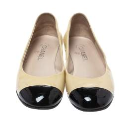 Chanel Two Tone Patent Leather Pearl Embellished Cap Toe Ballet Flats Size 38