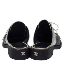 Chanel Patent Leather And Foil Lazer Cut Cuba Cruise Oxford Mules Size 39.5