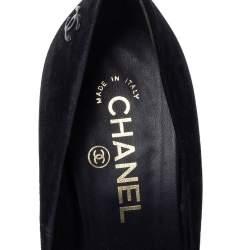 Chanel Black Suede And Patent Leather CC Cap Toe Platform Pumps Size 36.5