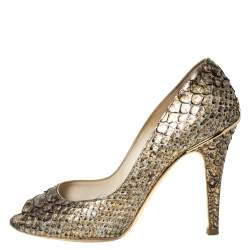 Chanel Metallic Gold Python Leather Peep Toe Pumps Size 38