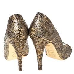 Chanel Metallic Gold Python Leather Peep Toe Pumps Size 38