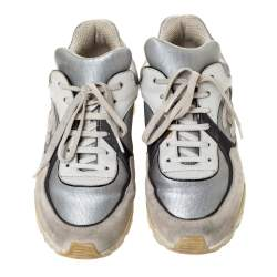 Chanel Grey/Silver Leather And Fabric CC Low Top Sneakers Size 38