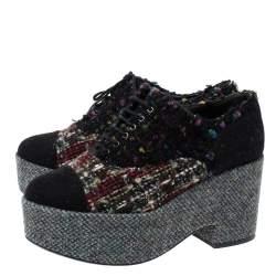 Chanel Multicolor Tweed And Felt Lace Up Platform Sneaker 38.5