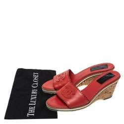 Chanel Red Leather CC Cork Wedge Open Toe Sandals Size 39.5