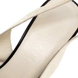 Chanel White/Black Leather Pointed Toe Slingback Sandals Size 41.5