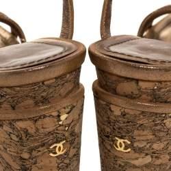 Chanel Beige Lame Fabric Strappy Cork Platform Sandals Size 35.5