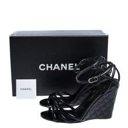 Chanel Black Patent Leather Ankle Strap Quilted Wedge Open Toe Sandals Size 36
