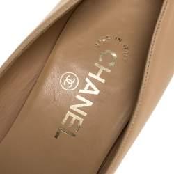 Chanel Beige Leather CC Bow Pumps Size 39.5