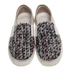 Chanel White Suede and Tweed Slip On Sneakers Size 37