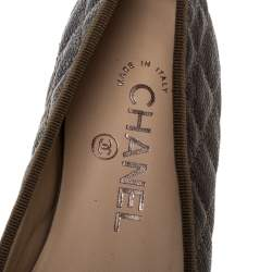 Chanel Olive Green Quilted Leather CC Bow Ballet Flats Size 37