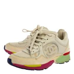 Chanel Multicolor Leather And Mesh CC Low Top Sneakers Size 36.5