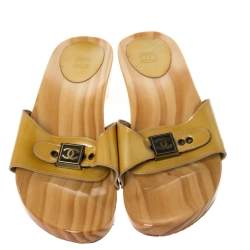 Chanel Yellow Patent Leather CC Buckle Wooden Clog Slides Size 41