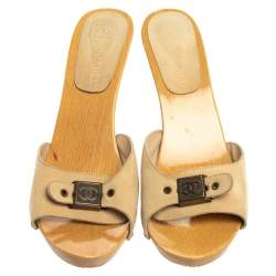 Chanel Beige Suede CC Adjustable Buckle Wooden Clog Sandals Size 41
