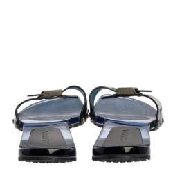 Chanel Blue Jelly Adjustable CC Buckle PVC Clog Slides Size 41