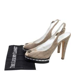 Chanel Beige Canvas And Black Leather Peep Toe Platform Slingback Sandals Size 39.5