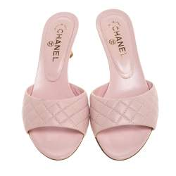 Chanel Pink Quilted Leather CC Cork Wedge Open Toe Sandals Size 38.5