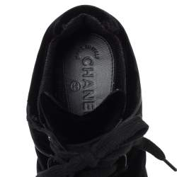 Chanel Black Velvet CC Logo Lace Up Sneakers Size 39