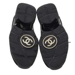 Chanel Black/Blue Leather, Suede And Velvet CC Low Top Sneakers Size 39