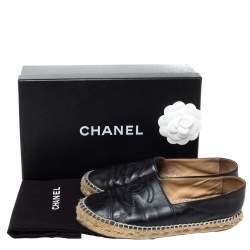 Chanel Black Leather CC Cap Toe Espadrille Flats Size 36