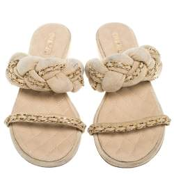 Chanel Beige Suede Leather Chain Embellished Flat Sandals Size 39