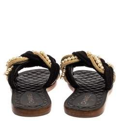 Chanel Black Cotton Blend Cuba Braid Pearl Flat Slides Size 39