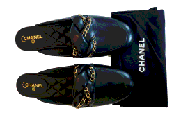 Chanel Black Leather Braided Chain Mule Slides Size  EU 37.5