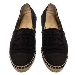 Chanel Black Canvas CC Logo Espadrille Flats Size 41