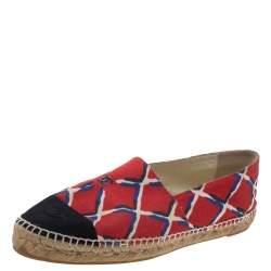Chanel Red Canvas CC Cap Toe Espadrille Flats Size 41