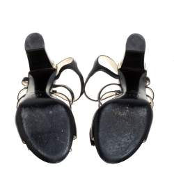 Chanel Black Leather Pearl Embellished Bow Caged Open Toe CC Ankle Strap Sandals Size 39