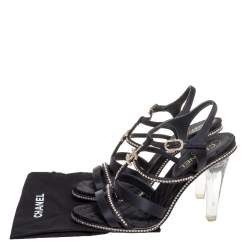 Chanel Black Satin Crystal Embellished Lucite Heel CC Strappy Sandals Size 39