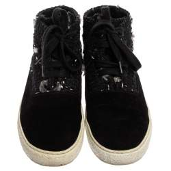 Chanel Black Tweed Fabric And Suede Leather High Top Sneakers Size 39