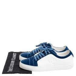 Chanel Blue/White Rubber and Velvet CC Trainer Low Top Sneakers Size 38.5