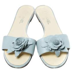 Chanel Light Blue Leather Camellia Flat Slide Sandals Size 41.5