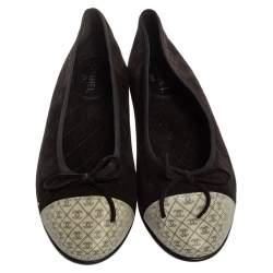 Chanel Black/White Suede Hologram 3D CC Cap Toe Ballet Ballerina Flat Size 38.5