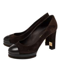 Chanel Brown Suede Cap Toe Platform Pumps Size 39.5
