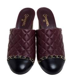 Chanel Burgundy Quilted Leather Chain Link Mule Sandals Size 37.5