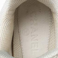 Chanel White Leather And Mesh CC Logo Lace Up Sneakers Size 37