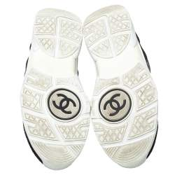 Chanel Black/White Suede and Fabric CC Sneakers Size 40