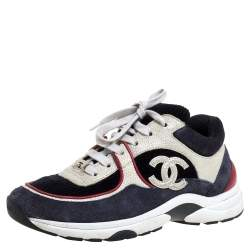 Chanel Multicolor Suede Leather And Fabric CC Logo Low Top Sneakers Size 36