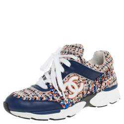 Chanel Multicolor Tweed/Leather and Sequins Low Top CC Sneakers Size 35