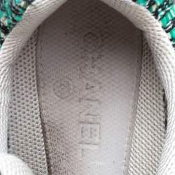Chanel Green/White Tweed/Leather and Sequins Low Top CC Sneakers Size 40