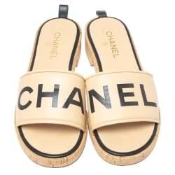 Chanel Beige Leather Logo Cork Slides Size 41