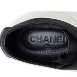 Chanel Black/White Rubber and Leather CC Low Top Sneakers Size 40