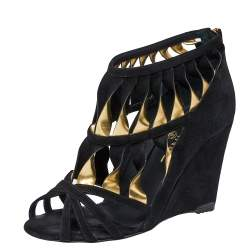 Chanel Black/Gold Suede Leather Strappy Wedge Sandals Size 37.5