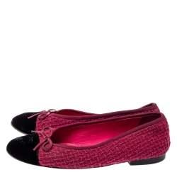حذاء فلات باليه شانيل غطاء مقدمة سى سى فيونكة قطيفة وتويد أسود / فوشيا مقاس 38.5