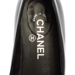 Chanel Black Patent Leather CC Faux Pearl Loafers Size 37