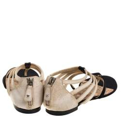 Chanel Two Tone Canvas And Suede Leather CC Thong Strappy Flat Sandals Size 38.5