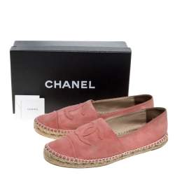 Chanel Coral Pink Suede CC Cap Toe Espadrille Flats Size 42