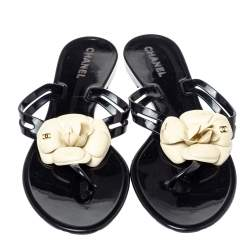Chanel Black/White Camellia Flower Jelly Quilted Thong Sandals Size 41